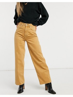 ASOS DESIGN high rise relaxed dad jeans in camel-tan