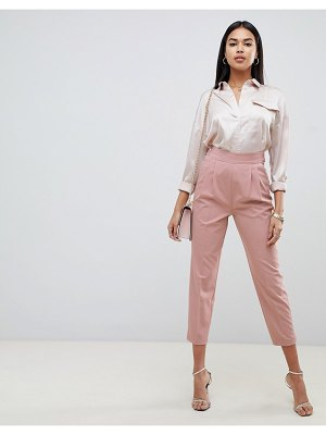 ASOS DESIGN high waist tapered pants-pink