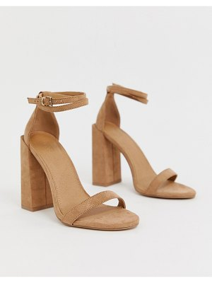 ASOS DESIGN highlight barely there block heeled sandals-beige