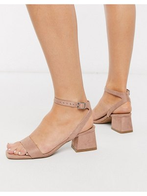 ASOS DESIGN hocco block heeled sandals in warm pink-beige