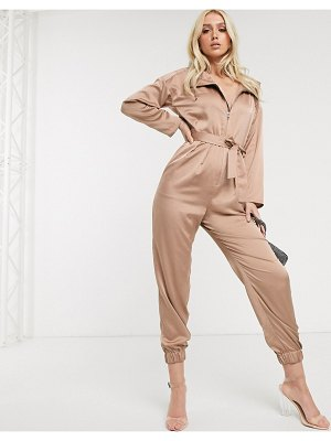 ASOS DESIGN hooded satin boiler jumpsuit-pink