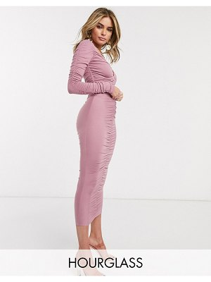 ASOS DESIGN hourglass long sleeve ruched midi dress in mauve-beige