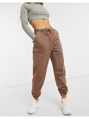 ASOS DESIGN hourglass oversized jogger in acid wash in brown