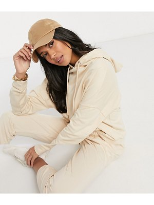ASOS DESIGN hourglass tracksuit hoodie / slim jogger with tie in organic cotton in beige-cream