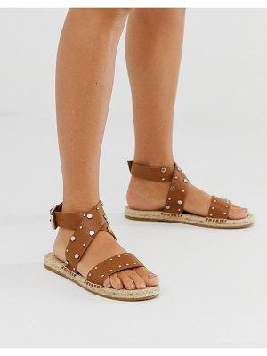 ASOS DESIGN jerry studded leather espadrille sandals in tan
