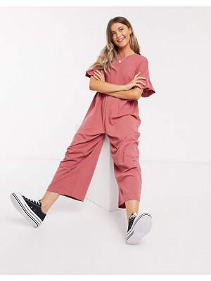 ASOS DESIGN jersey smock jumpsuit with frill sleeve in rose-pink