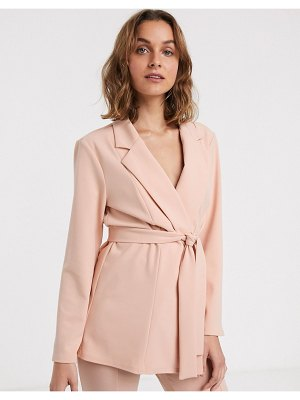 ASOS DESIGN jersey wrap suit blazer in blush-pink