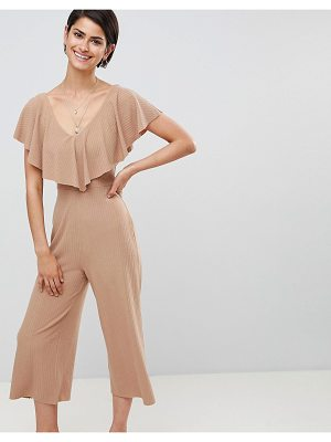 Asos DESIGN Jumpsuit In Rib Jersey With Overlay Detail