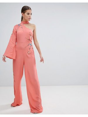 Asos DESIGN Jumpsuit With Embroidery And One Shoulder