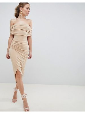 Asos kimmi slinky ruched bardot midi dress