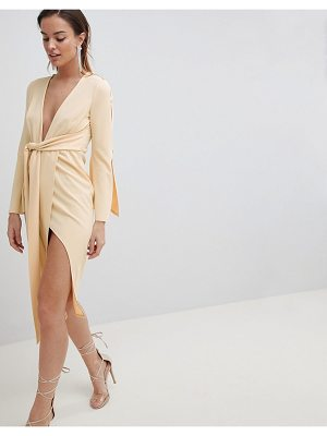 Asos kimono button plunge midi dress
