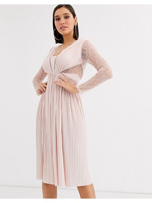 ASOS DESIGN lace and pleat long sleeve midi dress-beige