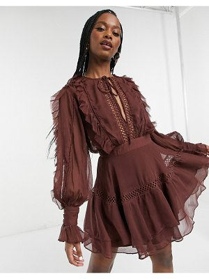 ASOS DESIGN lace insert mini dress with ruffle and tie detail in chocolate-pink