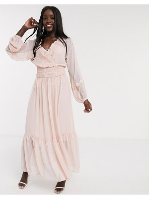 ASOS DESIGN lace insert shirred waist maxi dress in dusky pink