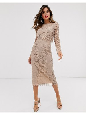 ASOS DESIGN lace long sleeve midi pencil dress-beige