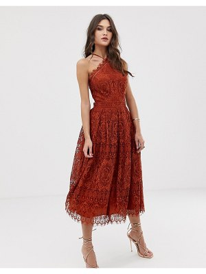 ASOS DESIGN lace midi dress with pinny bodice-brown