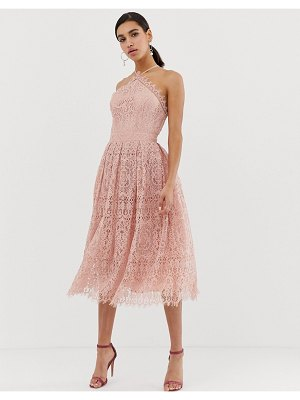 ASOS DESIGN lace midi dress with pinny bodice-pink
