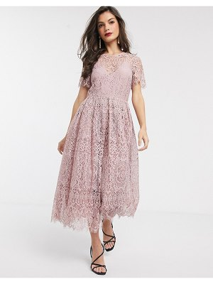 ASOS DESIGN lace midi dress with ribbon tie and open back in soft rose-pink