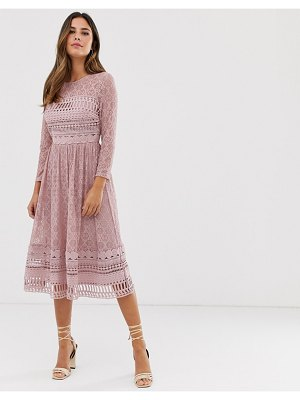 ASOS DESIGN lace midi skater dress in mink-pink