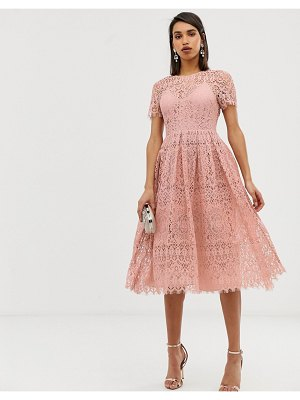 ASOS DESIGN lace midi with ribbon tie and open back