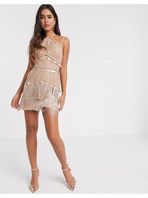 ASOS DESIGN lace mini dress with sequin and fringed trim in pale pink
