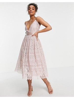 ASOS DESIGN lace prom dress with wrap waist detail-pink