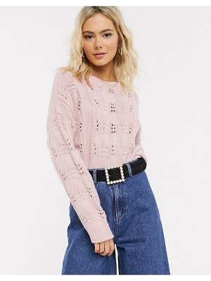 ASOS DESIGN lace stitch chunky sweater-pink