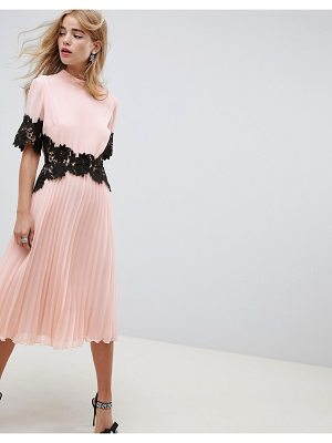Asos lace waist and cuff pleated midi dress