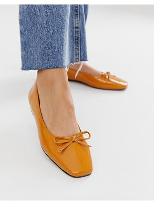 ASOS DESIGN last square toe ballet flast in tan
