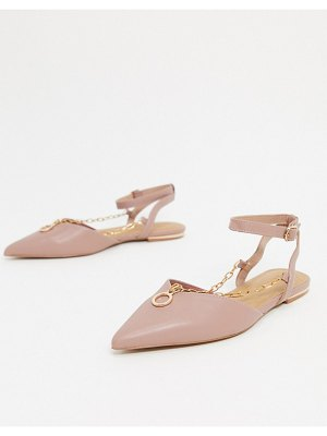 ASOS DESIGN lennox pointed ballet flats with chain detail in dusty pink