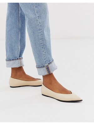 ASOS DESIGN levels high vamp ballet flats in bone