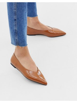 ASOS DESIGN lift high vamp ballet flats in tan