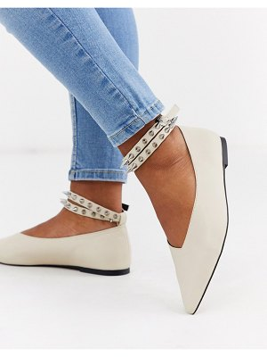 ASOS DESIGN lima studded ballet flats in bone-stone