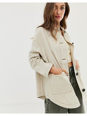 ASOS DESIGN linen jacket with contrast stitch detail-stone