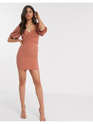 ASOS DESIGN linen wrap front mini dress with puff sleeves in rust-pink