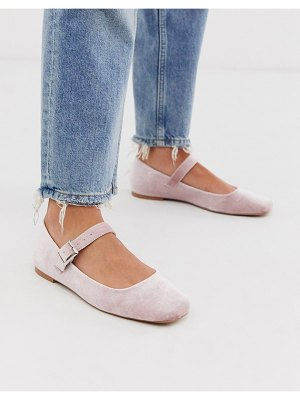 ASOS DESIGN links mary jane ballet flats in blush velvet-pink