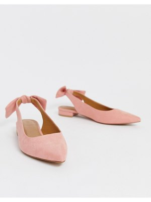 ASOS DESIGN lizzie bow slingback ballet flats in blush