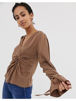 ASOS DESIGN long sleeve gathered drape front top