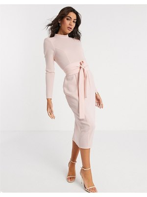 ASOS DESIGN long sleeve midi dress with obi belt in blush-pink
