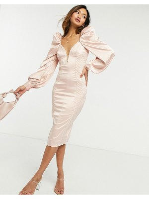 ASOS DESIGN long sleeve quilted satin plunge wired body-conscious midi dress in pale pink