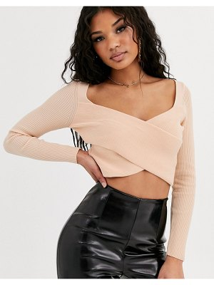 ASOS DESIGN long sleeve structured knit ripple crop top-cream