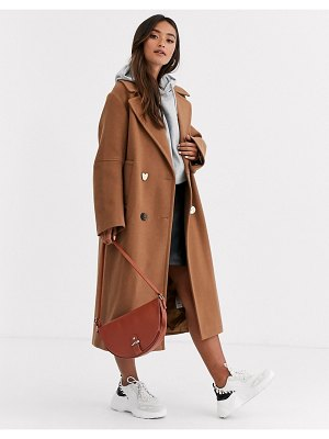 ASOS DESIGN longline textured coat with mixed buttons