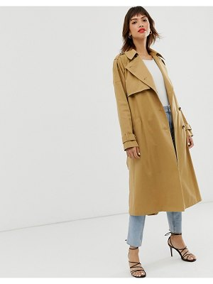 ASOS DESIGN longline trench coat-stone