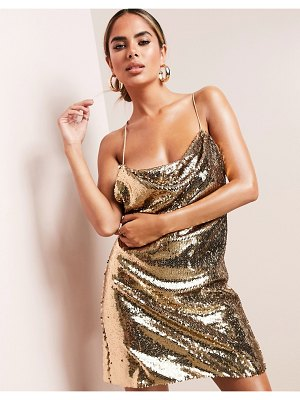 ASOS DESIGN luxe cowl neck all over sequin mini cami dress in gold