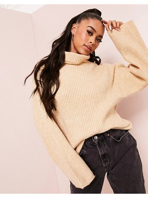 ASOS DESIGN luxe fluffy roll neck longline sweater-stone