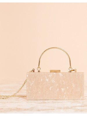 ASOS DESIGN luxe marble clutch bag with metal handle-copper