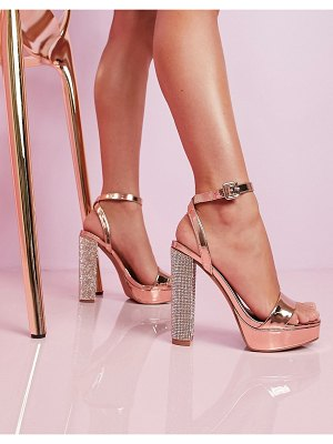 ASOS DESIGN luxe nutshell embellished platform barely there heeled sandals in rose gold