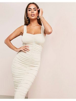 ASOS DESIGN luxe sweetheart neckline ruched midi body-conscious dress in stone