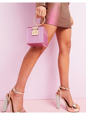 ASOS DESIGN luxe vanity box clutch in glitter-pink