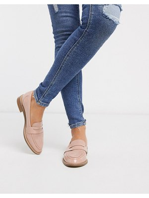 ASOS DESIGN mail loafer flat shoes in beige patent